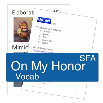 On My Honor - Book vocabulary activities