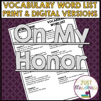 On My Honor Vocabulary Word List
