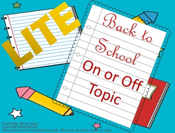 On-Off Topic Back to School: Lite Version