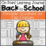 On Point Learning Journal Back to School {Printable Goodness for Fast Finishers}
