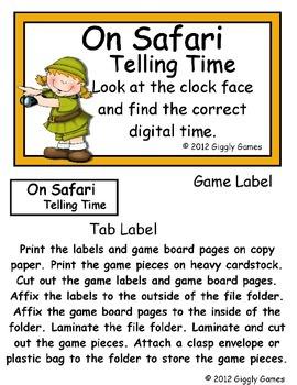 On Safari Telling Time Half Hour File Folder Game