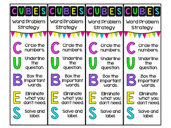 CUBES Problem Solving Math Strategy Poster Set