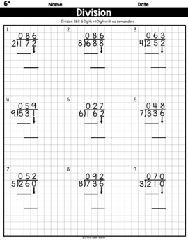 Long Division On Graph Paper - 3-Digits by 1-Digit With No Remainders