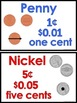 Touch Money Mini Posters of Coins with Counting Dots