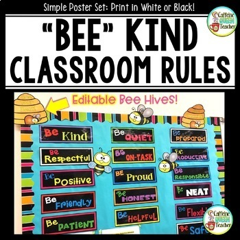Class Rules Bulletin Board - Be Kind with Editable Bee hives