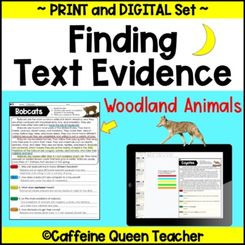 Text Evidence -  Nonfiction Reading Comprehension - Woodla