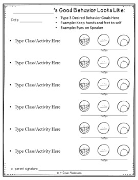 Behavior Modification Smiley Face EDITABLE Sheets