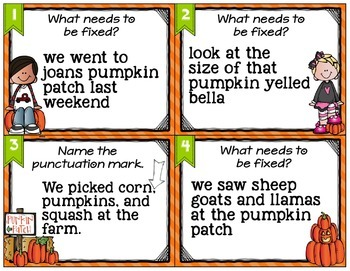 Punctuation and Capitalization Task Cards and More!