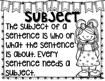 Subject and Predicate Task Cards and Practice