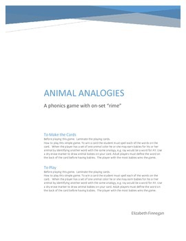 On-Set Rime: Animal Analogy Phonics Game