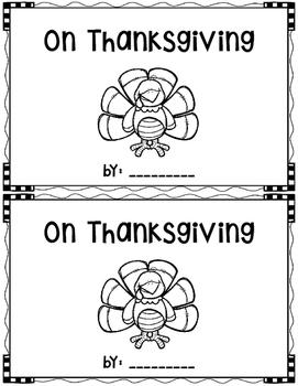 On Thanksgiving~ emergent reader