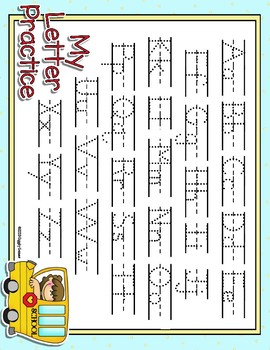 On The Bus Full Sheet Dotted Letter with Line Alphabet Practice Mat Dry Erase