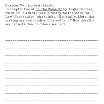 On The Come Up by Angie Thomas CCSS aligned close reading questions