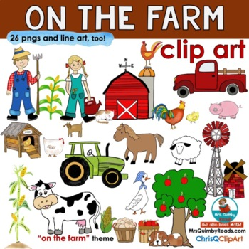 On The Farm - Clip Art - 30 designs for Farm Unit and Pages