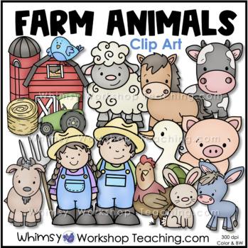 Farm Animals Clip Art Set (Whimsy Workshop Teaching)