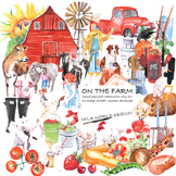 On The Farm Watercolor Clipart Set