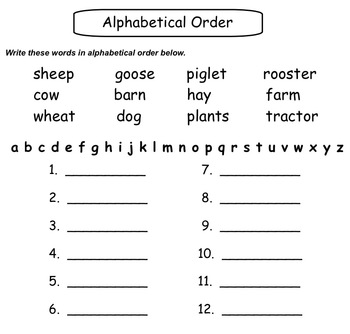On The Farm Worksheets/Printables