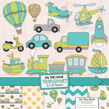 On The Move Transportation Clipart & Patterns - Airplane Clipart
