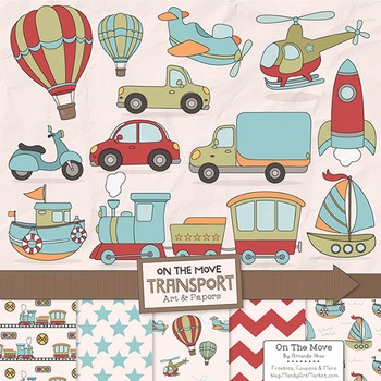 On The Move Vintage Boys Transportation Clipart & Patterns