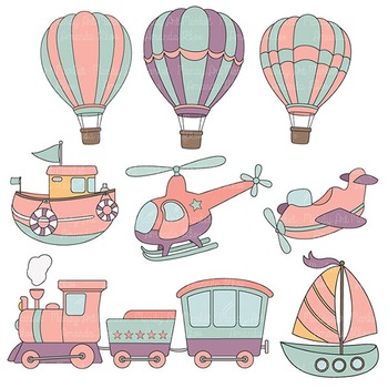 On The Move Vintage Girls Transportation Clipart & Patterns