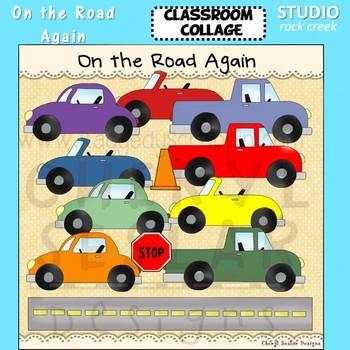 On The Road Again Trucks Cars Road color clip art C Seslar