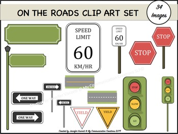 On The Roads {Clip Art Set} {Traffic/Street Signs}