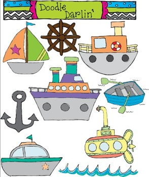 On The Sea Transportation Clipart