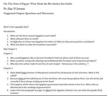 On The State of Egypt Questions and Discussion points