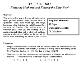 On This Date: Fostering Mathematical Fluency the Easy Way!