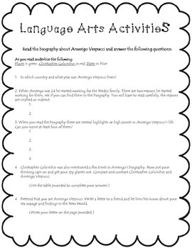 Amerigo Vespucci: Integrated Classroom Activities