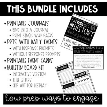 On This Day in History- 365 Days-THE GROWING BUNDLE- PPTS, Journal & MORE