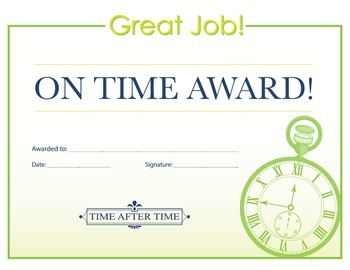 On Time Award Certificate