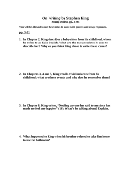 On Writing by Stephen King: 8-page Study Guide Packet for Students
