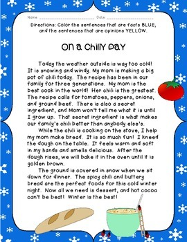 On a Chilly Day: Fact and Opinion Practice