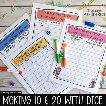 Making 10 and Making 20: Dice Math Worksheets - Common Core Aligned