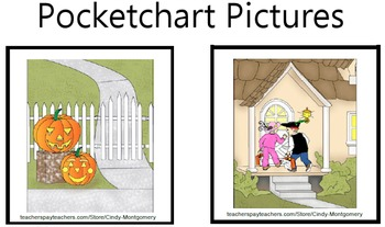 On a Trick or Treating Night Colored Pocketchart Pictures