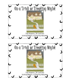 On a Trick or Treating Night l Cute color version Halloween emergent reader