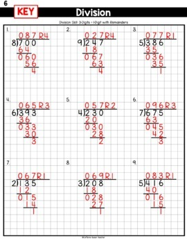 Long Division On Graph Paper - 3-Digits by 1-Digit With Remainders