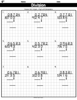 long division on graph paper 3 digits by 1 digit with remainders. Black Bedroom Furniture Sets. Home Design Ideas