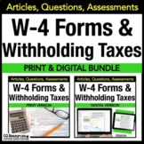 Financial Literacy W-4 Tax Forms and Withholding Taxes Passages and Worksheets