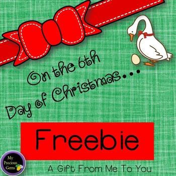 On the 6th  Day of Christmas FREEBIE
