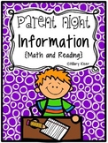Parent Night Information (Math and Reading)