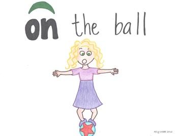 On the Ball Cartoon--Printable Montessori Preposition/Grammar/Idiom Cards