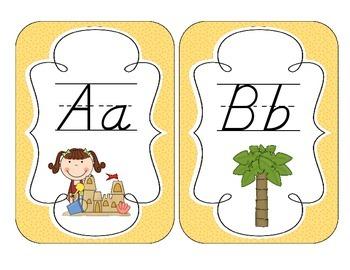 On the Beach Alphabet Cards: D'Nealian Version