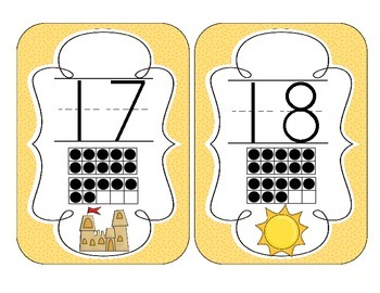 On the Beach Number Cards 1-20