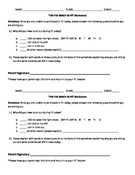 On the Bench in PE Worksheet