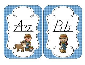 On the Farm Alphabet Cards: D'Nealian Set