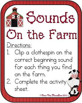 On the Farm Beginning Sounds Game