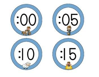 On the Farm Clock Numbers: Blue Set