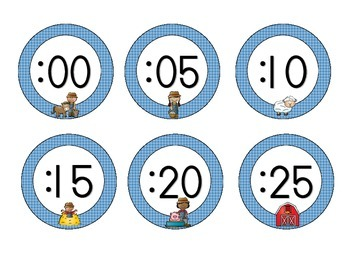 On the Farm Clock Numbers: Blue Set